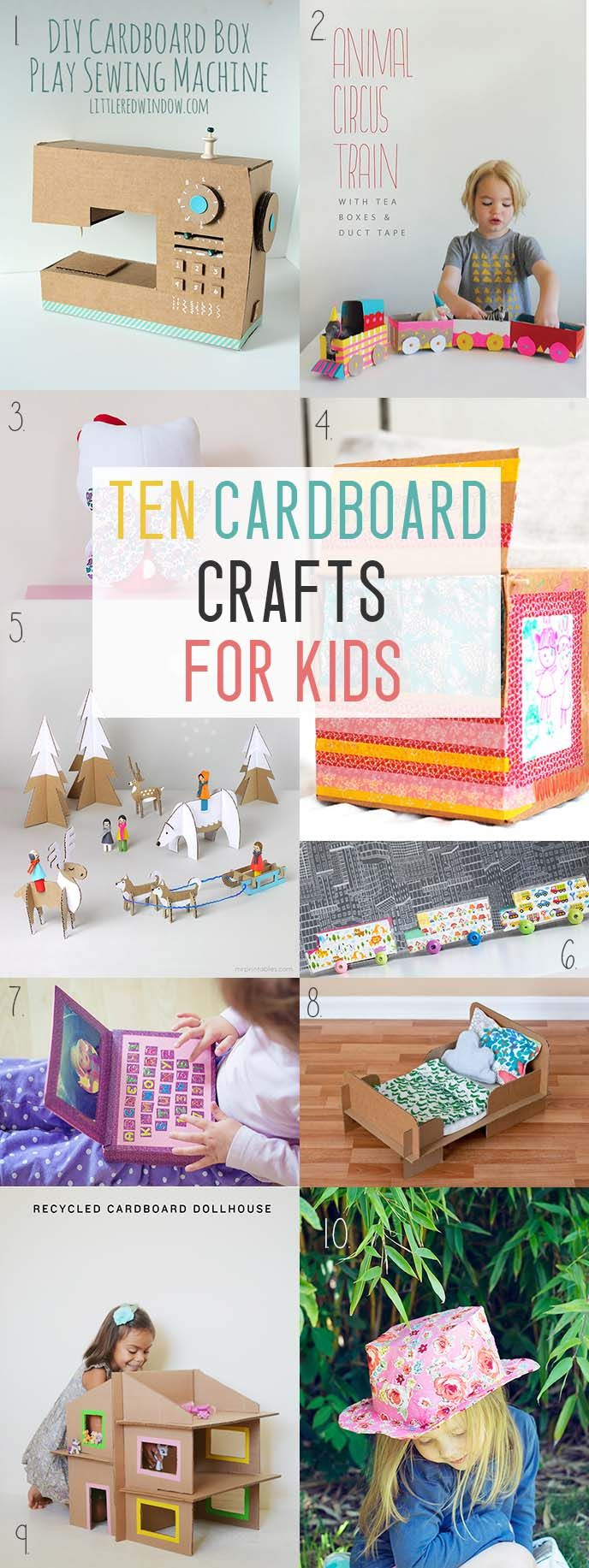10 Cardboard Crafts For Kids. I love crafting with cardboard and we always seem to have some lying around so I much prefer to make something with it instead of throw