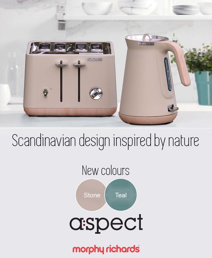 The second generation of Scandi-chic colours is here! Embrace the earthy tones of the new Teal & Stone Scandi Aspect kettle and toaster sets by Morphy Richards, for a kitchen design inspired in the beauty of nature itself.