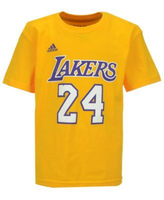 adidas Kids' Kobe Bryant Los Angeles Lakers Name And Number T-Shirt - Gold 5/6