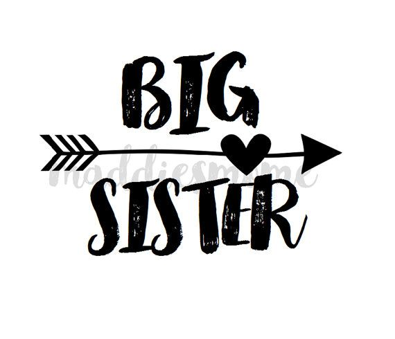 Big Sister DIY Iron on T Shirt Transfer Black by MaddiesMomE