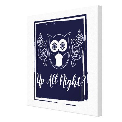 Up All Night? Retro Owl and Roses Cute Funny Canvas Print - animal gift ideas animals and pets diy customize