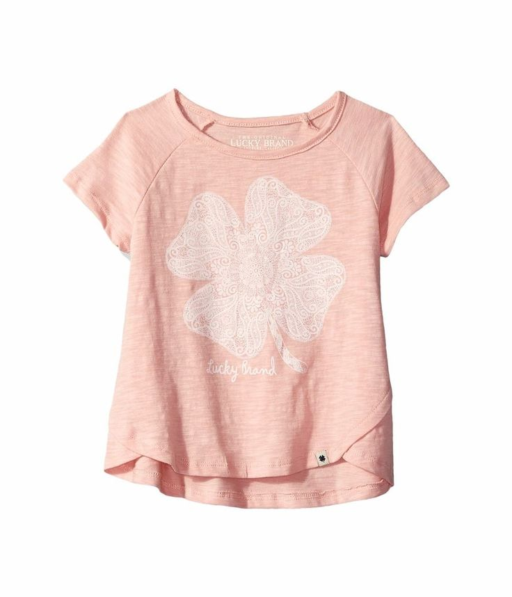 Lucky Brand Kids Lucky Lace Slub Jersey Tee Cockleshell Coral Clover Size 6 S 7 #LuckyBrand #CasualSchoolEveryday