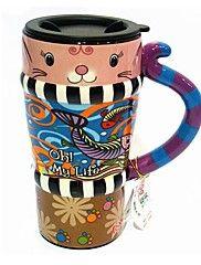 Qiandu vita dei pesci gatto tazza con manico in coda per il regalo dipinto, pittura su ceramica, 450ml