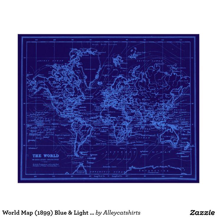 227 best colorful world maps images on pinterest vintage cards world map 1899 blue light blue poster gumiabroncs Gallery