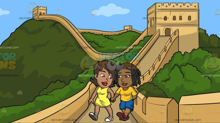 A Black Lesbian Couple Holding Hands At The Great Wall Of China :  A black (African American) woman with brown hair wearing a yellow sleeveless dress and white shoes looking lovingly at her lover with braided black hair wearing a yellow shirt blue cargo pants and red shoes as they walk together hand in hand. Set in a massive and long beige wall built on the green ridges of a mountain that serves as a border and protection from intruders.