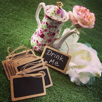 Floral teapot with mini chalk boards for hire www.prettylittlevintage.com.au