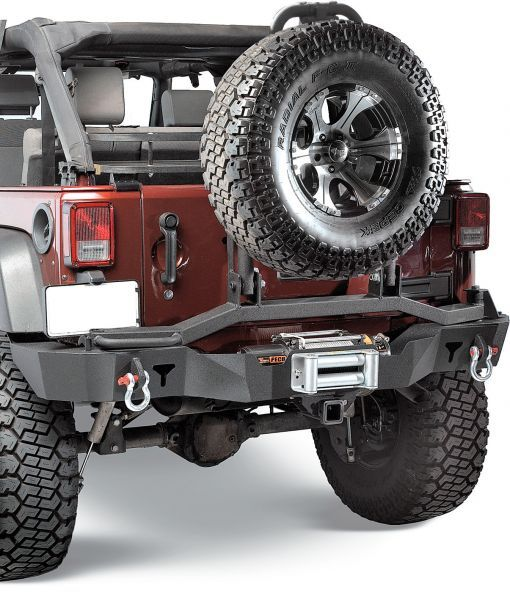 Olympic 4x4 Products Rear Smuggler Winch Bumper with Dual Pivot Tire Carrier | Jeep Parts and Accessories | Quadratec