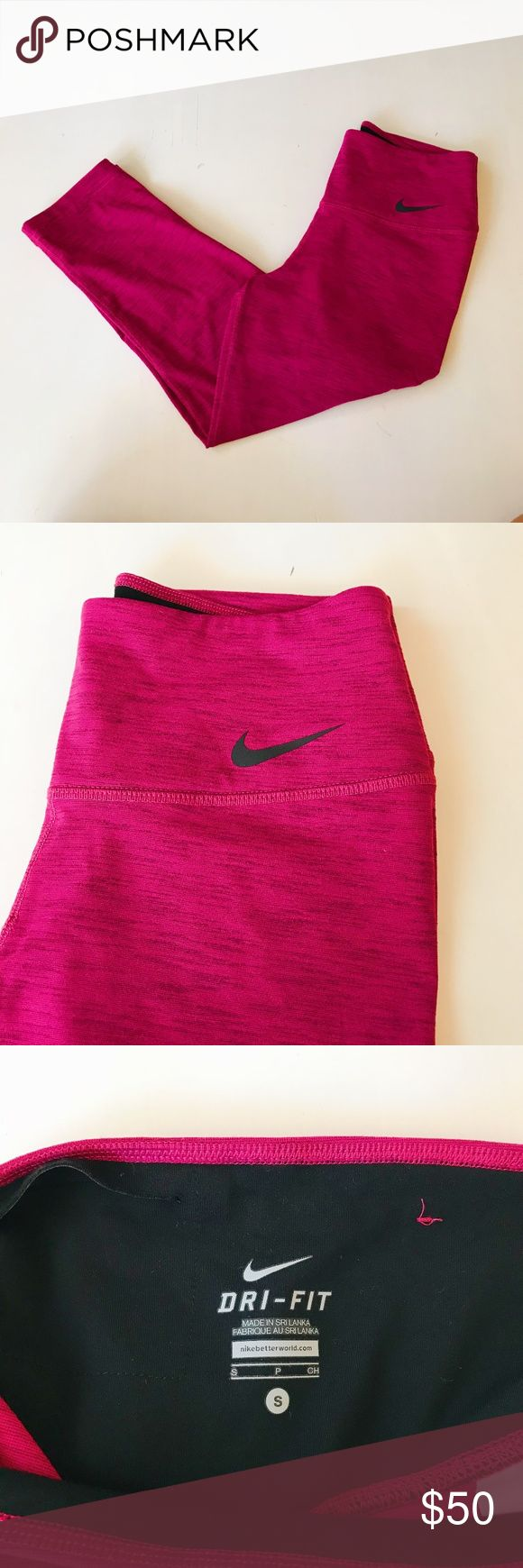 Nike Power Legendary Capris Pink Dri-Fit capri leggings,  mid-rise. Slit pocket in waistband at back. Like new condition. Nike Pants Capris