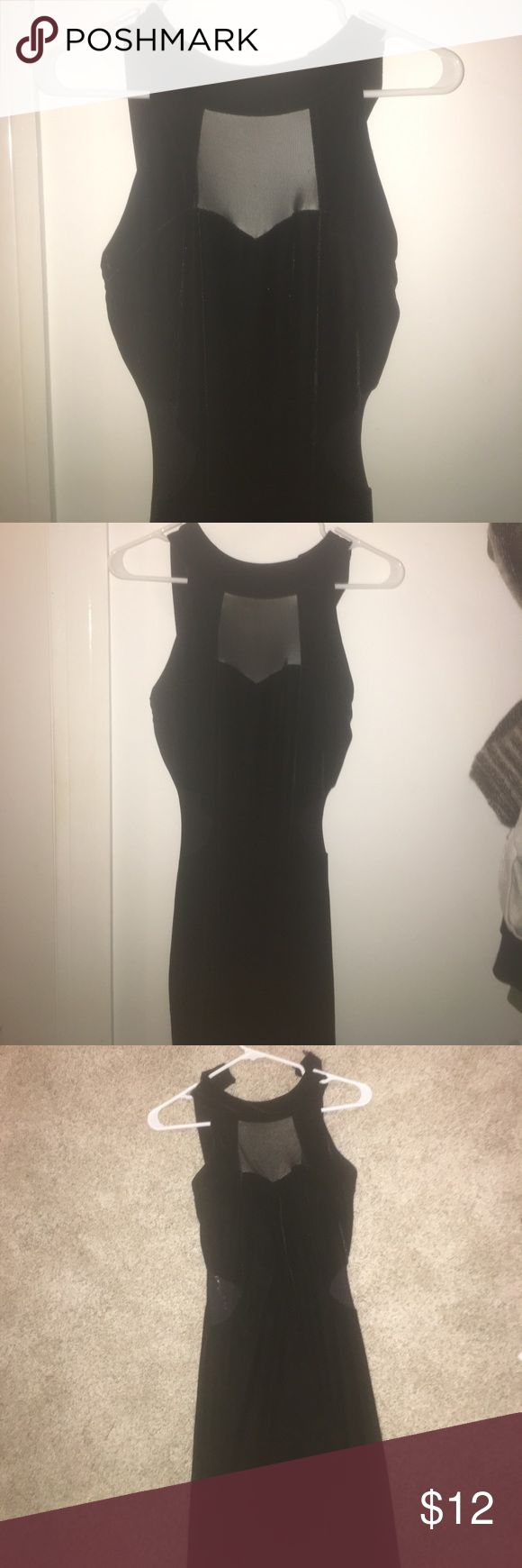 Body Central Black Velvet Long Fitted Dress Beautiful new condition with tags Body Central velvet dress! Cute mesh side cutouts, form fitting (really flattering)! Very classy and elegant, it goes down to around my ankles, perfect length. Body Central Dresses Maxi