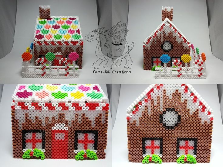 3D Gingerbread House Christmas perler beads by Kame-ami on DeviantArt