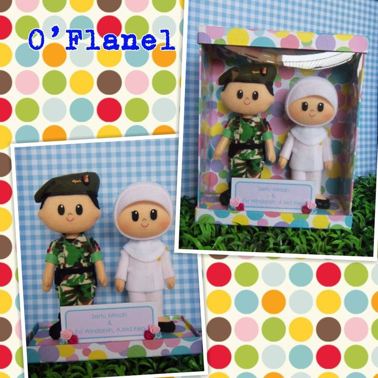 Soldier and Nurse. Indonesian felt doll. Cute couple characters.