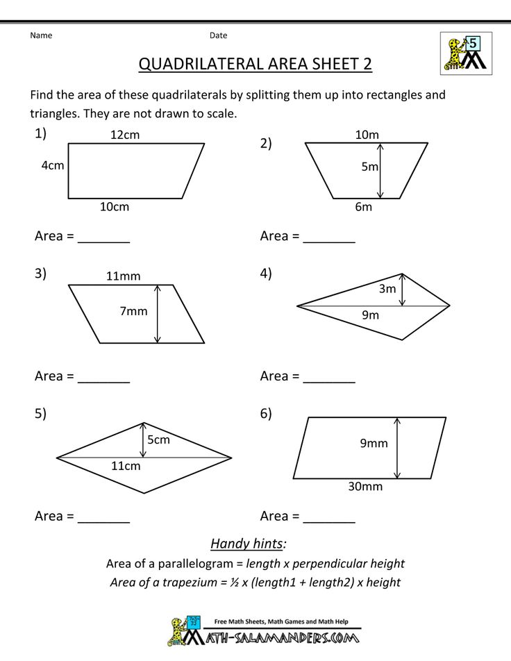 printable geometry worksheets quadrilateral area 2 5th grade math pinterest math practices. Black Bedroom Furniture Sets. Home Design Ideas