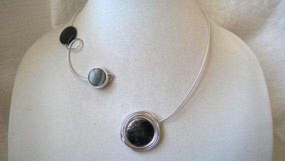 Wire wrapped necklace  Black necklace  Design jewelry  Alu