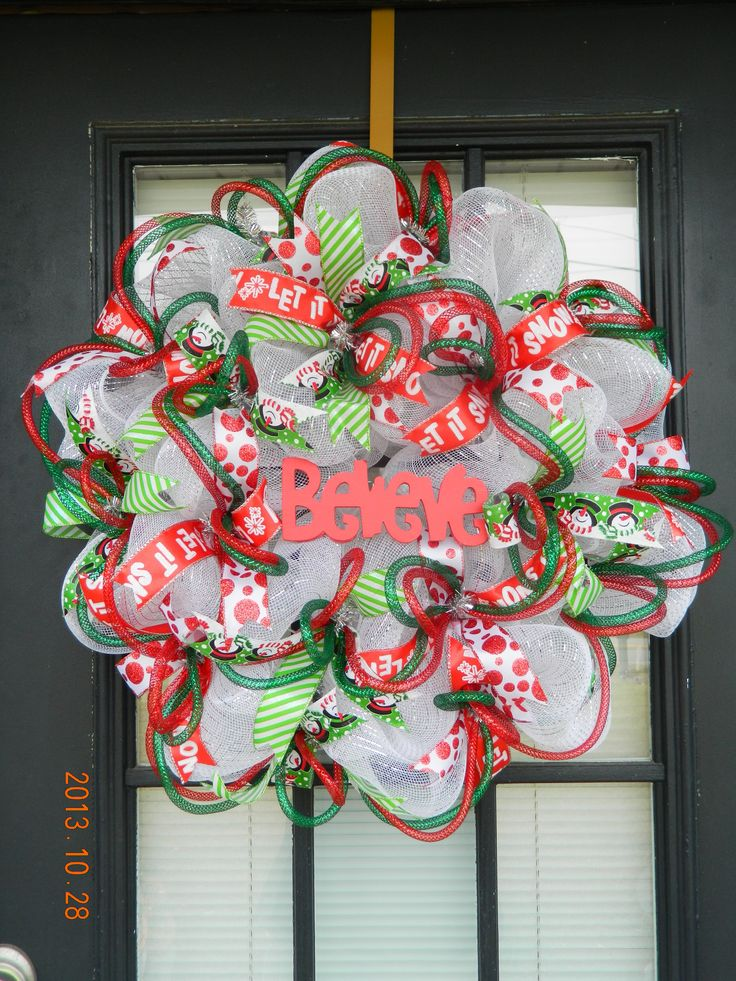"""Believe"" Christmas Holiday Winter Deco Mesh Wreath"