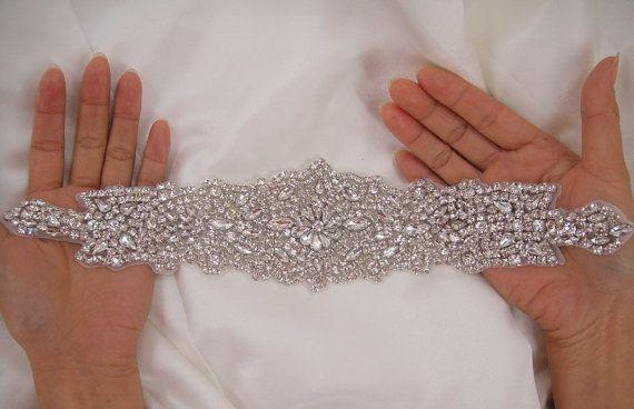 Diamante Applique, rhinestone applique, crystal bridal Sash applique, Bridal Applique, wedding applique, pearl beaded applique, wedding belt