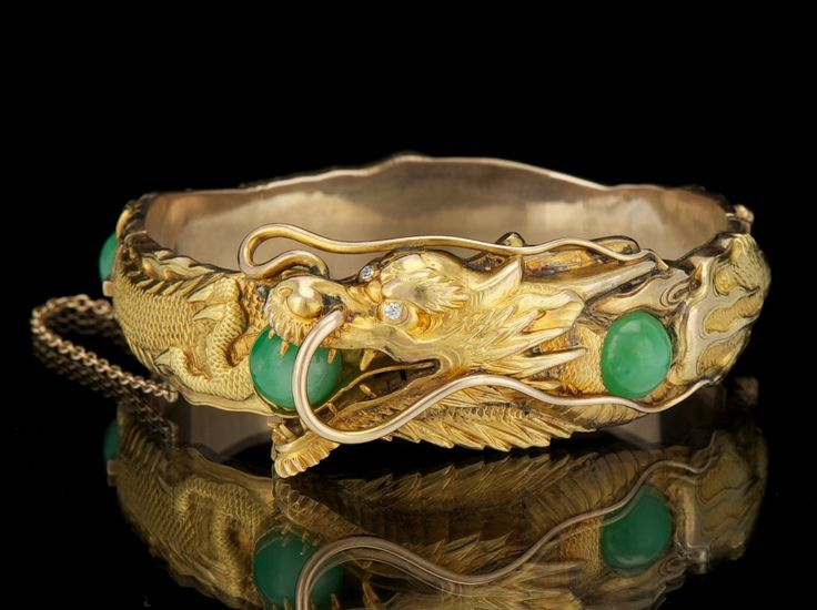 Arthur & Bond 14k Gold and Jadeite, and Diamond Dragon Design Bangle Bracelet, ca. 1915