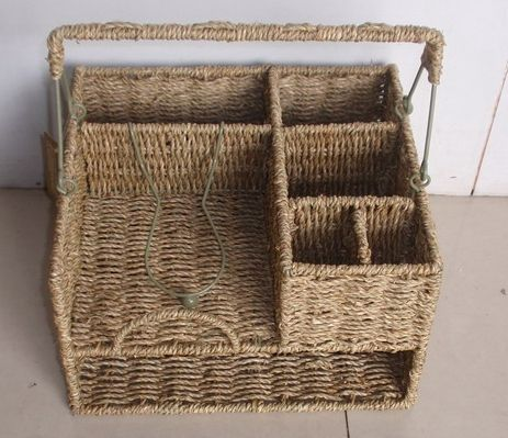 Rattan Metal Picnic Buffet Party Holder BBQ Utensil Plate Fork And Knife Basket