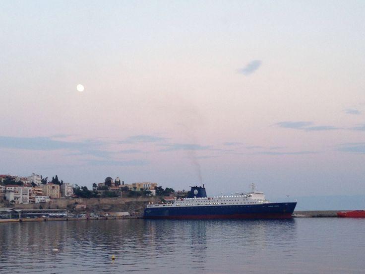 Europe Express boat ready to leave Kavala port! Beautiful moon tonight!