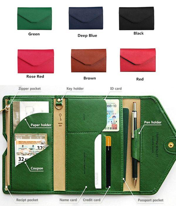 Women Men Simple Pu Leather Wallet Pen Card Holder Passport Clutch Bags
