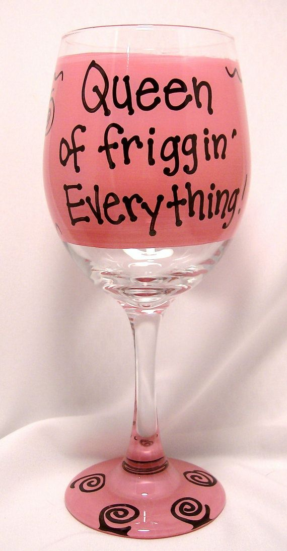 Queen of friggin Everything Funny Wine Glass Gift Boxed via Etsy
