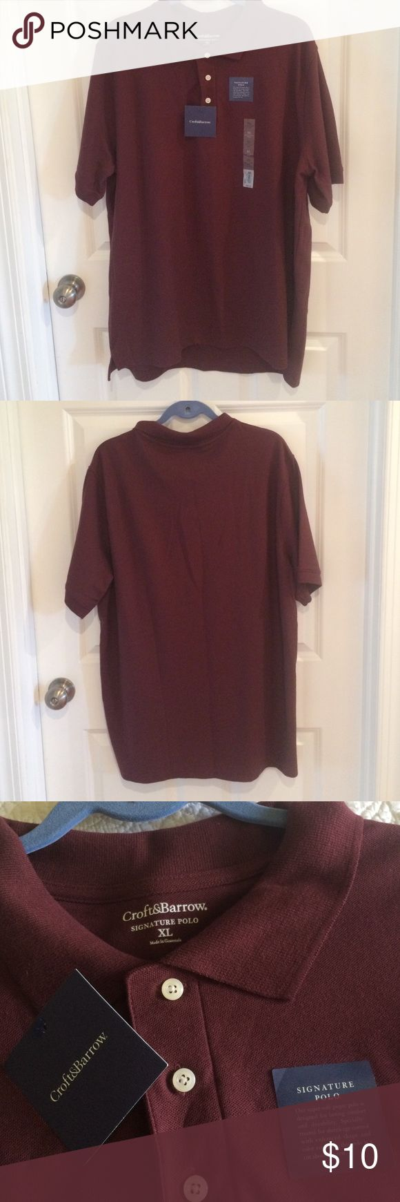🚶🏻Croft & Barrow Signature Men's Polo Shirt. 100% cotton shirt. Machine wash & tumble dry. Brand New with tags/ Never worn.  The shirt is really burgundy not red. Croft & Barrow Shirts Casual Button Down Shirts