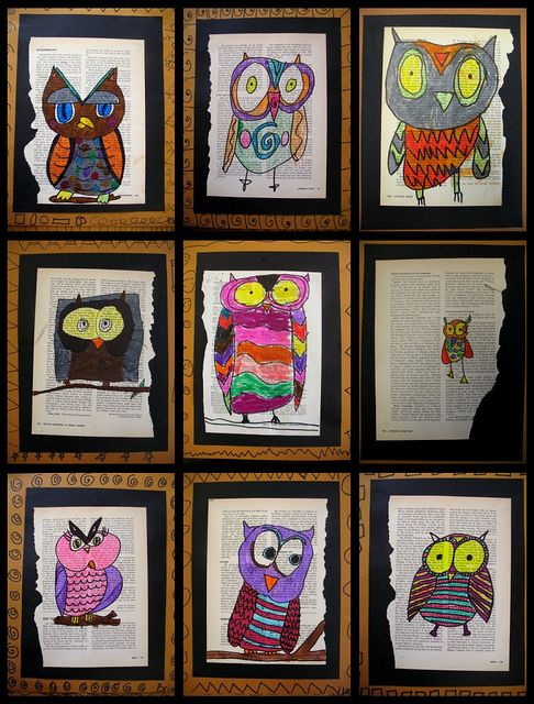 I love childrens art!: Fourth Grade, Ideas, Old Books Pages, Owl Art, Kid Art, Book Pages, Owl Kids, Kids Art, Books Crafts