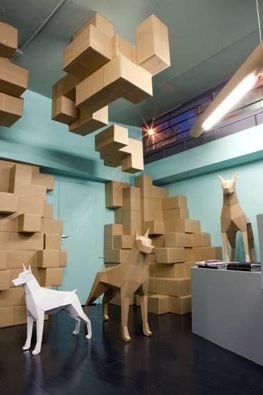 Burnt Toast's signature deconstructive shapes using cardboard