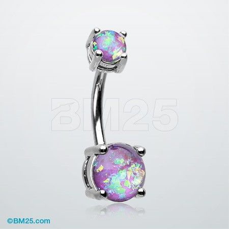 Opal Sparkle Prong Set Belly Button Ring