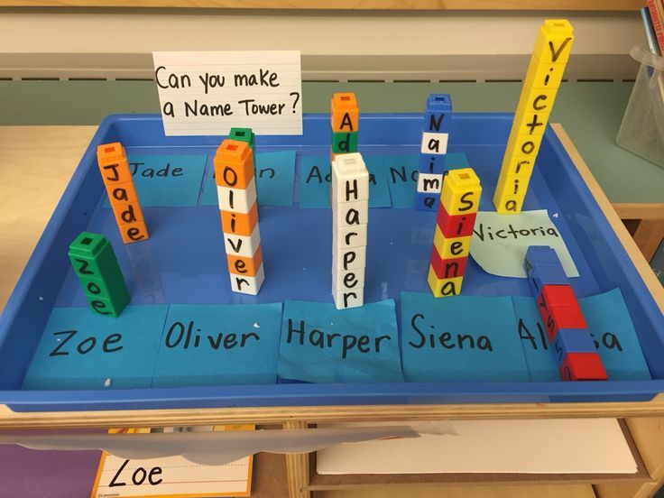 Name tower Name recognition Fine motor Building Study (Creative Curriculum)