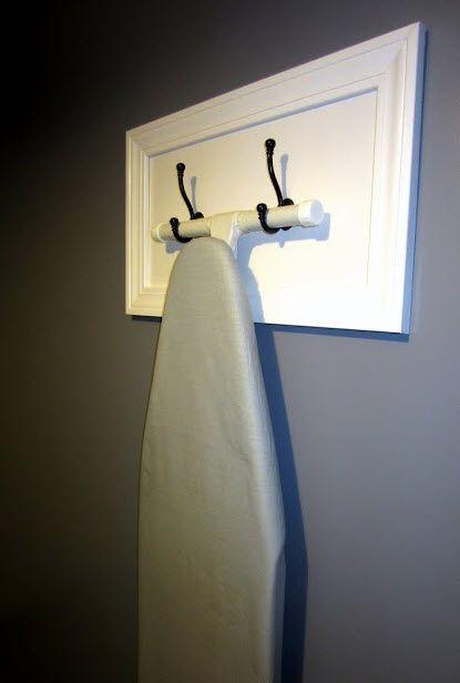 Cute way to hang ironing board