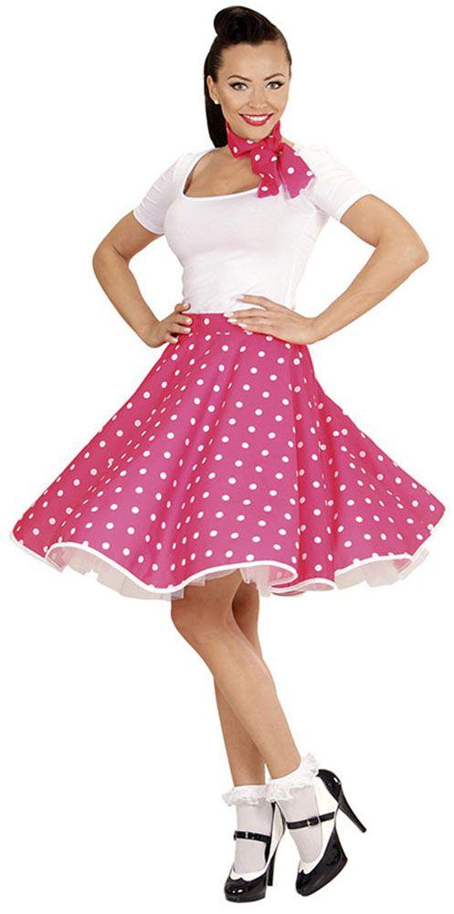Falda de lunares años 50 color rosa