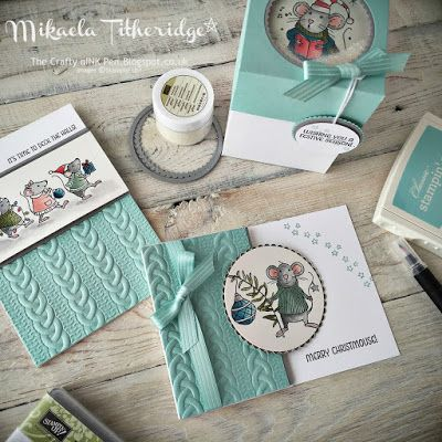 Mikaela Titheridge, Independent Stampin' Up! Demonstrator, The Crafty oINK Pen. Merry Mice Class, Shaker Box, Cable Knit Embossing Folder all available through my online store.