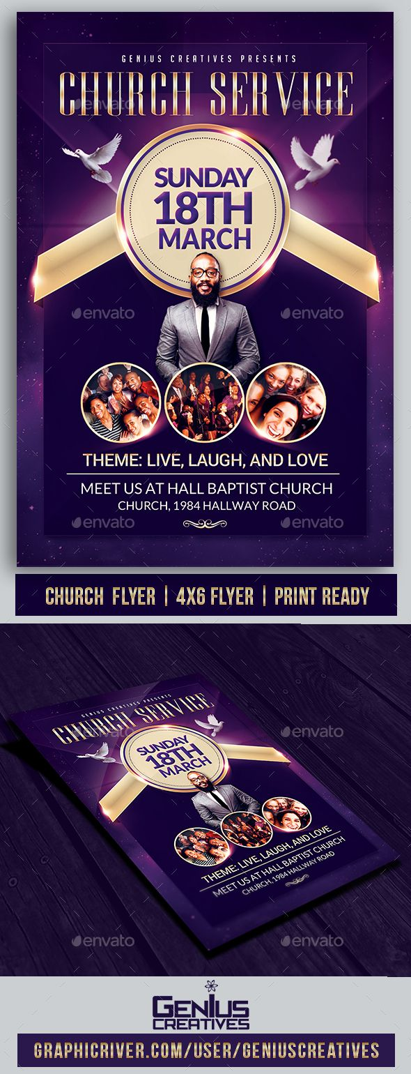 #Church Service #Flyer Template - Church Flyers Download here: graphicriver.net/...