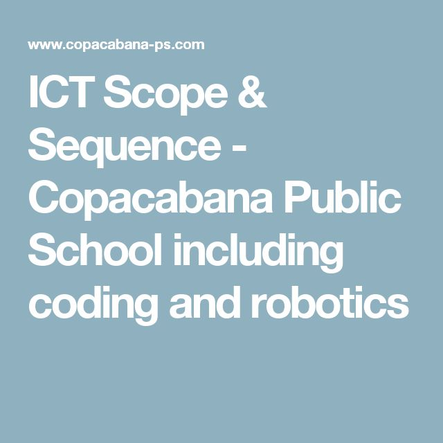 ICT Scope & Sequence - Copacabana Public School including coding and robotics