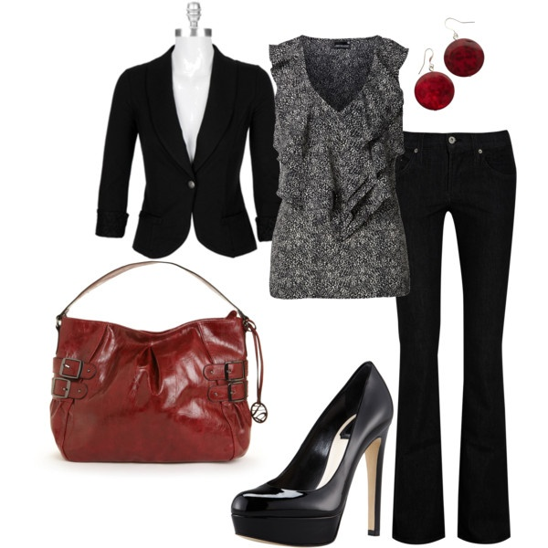 Black with Red: Nice Outfit, Casual Fashion, Work Clothes, Red, Clothes Style, Fashion Style Outfits, Polyvore, Work Outfits