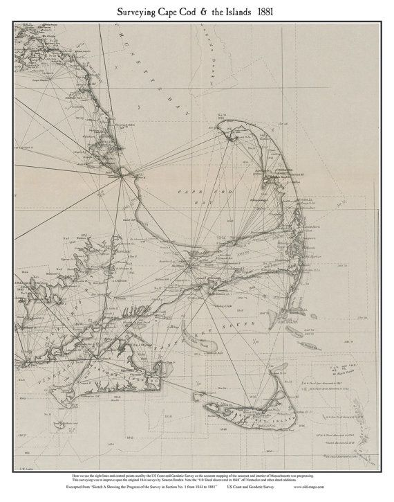 Cape Cod - Surveying Cape Cod and The Islands 1881  Reprint  U.S.C & G.S. Triangulation Lines
