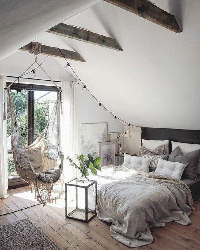 Bedroom loft, light wooden floor, rocking chair, large