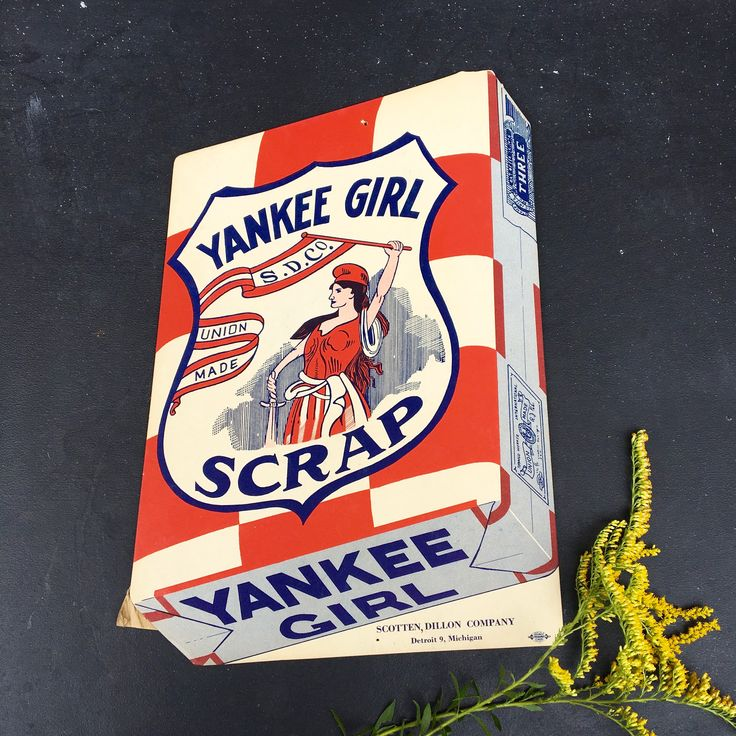 Yankee Girl Scrap vintage advertising counter display sign~and Union Workman piece~tobaccoana from MilkweedVintageHome by MilkweedVintageHome on Etsy