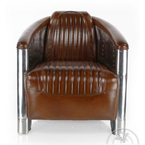 d tails sur fauteuil club cuir marron vintage aviator. Black Bedroom Furniture Sets. Home Design Ideas