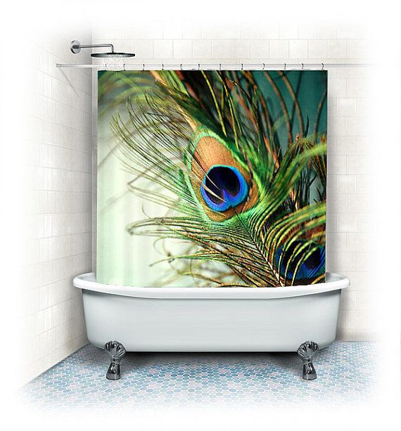 Peacock feather fabric shower curtain teal peacock Nature inspired shower curtains