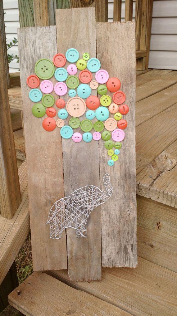 Elephant button balloon string art by MandasPandemonium on Etsy