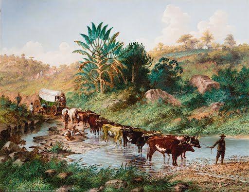 Wagon crossing a Drift - Natal by Thomas Baines 1874