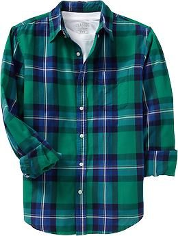 Men's Plaid Slim-Fit Oxford Shirts | Old Navy in tealy dan/hedge your bets (s)