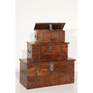 Coffres indiens (lot de 3) exotique acacia MANDY - 500e - Dimensions (cm) : L101,1xP46xH43,5 / L77xP32,5xH34 / L60xP24,5xH23,5 - pour table?