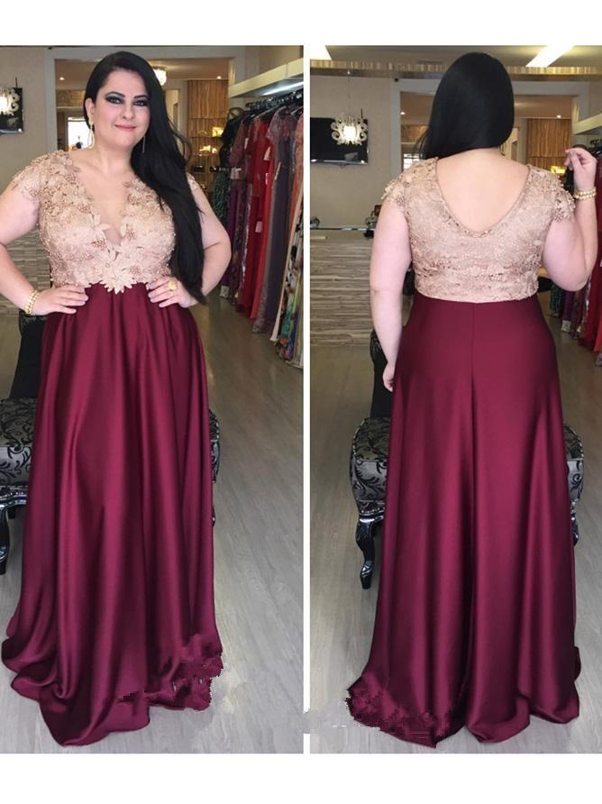 113d7f8fdf7 2018 A-line V neck Burgundy Plus Size Prom Dresses Custom Long Prom Dresses  Evening Dress