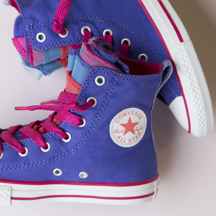Adorable kids Converse hi-top sneakers with taffeta layers! http://www.shoeconnection.co.nz/products/CNJ8VA5C0PX