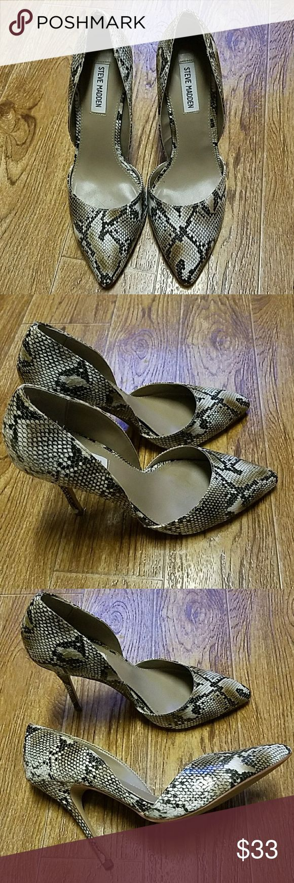 "Steve Madden snakeprint pumps size 8 1/2M These super cute Steve Madden ""Giddy D'Orsay"" pumps are size 8 1/2. Color: snakeprint.  Worn once, still in  great condition. Only sigm of wear is on the bottom, see pic#4. Approx 4"" heels.  Last pic is a stock photo. Steve Madden Shoes Heels"
