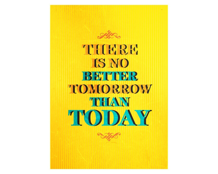 Print Typography Art Illustration Poster in Yellow Print - Inspirational and Motivational WORDS - A3 Poster