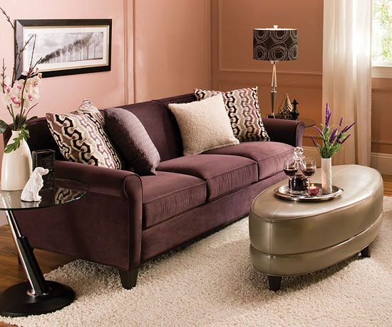 Stylish Living Room Collections From Raymour U0026 Flanigan | Purple Couch,  Pink Walls And Living Rooms