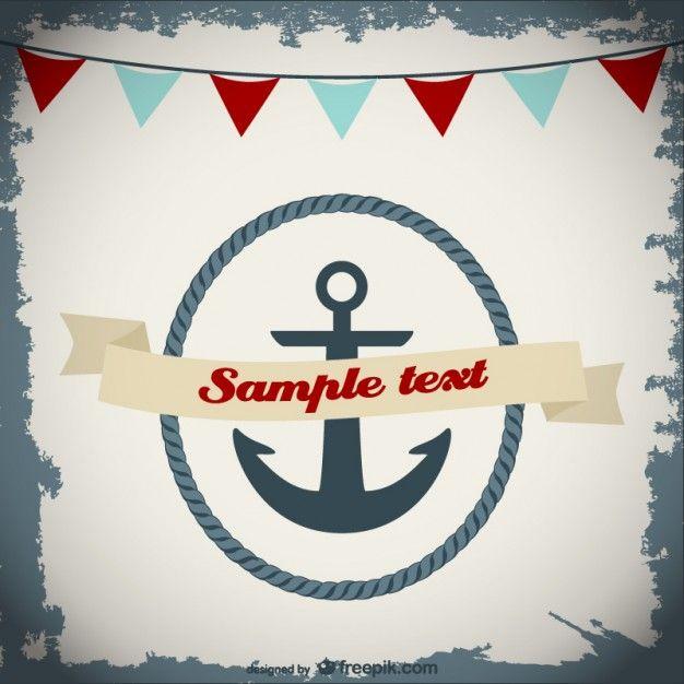 Nautical invitation card design  Free Vector